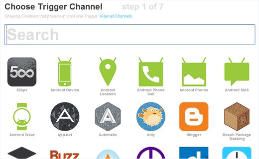 IFTTT choose a channel