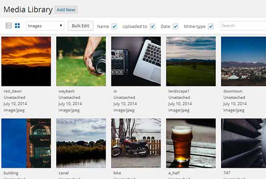 Grid view for media library in WordPress 4.0