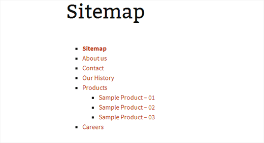 Displaying a simple page list on a sitemap page in WordPress