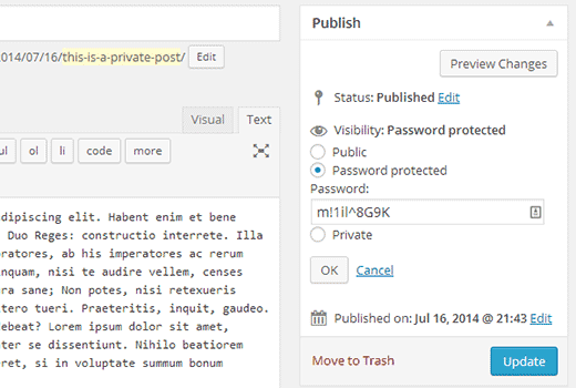 Making a WordPress post password protected or private