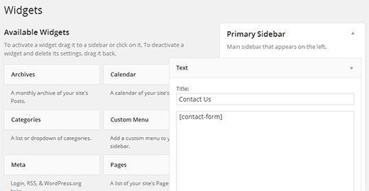 Using a Shortcode in WordPress widgets