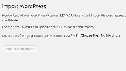 Uploadd WordPress export file you downloaded earlier