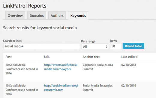 Search for links by keyword