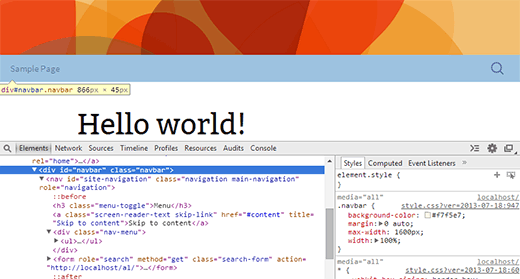 Chrome inspector showing rendered HTML and CSS style rules