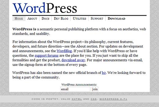 WordPress.org homepage in 2003