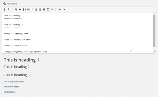 Markdown editor on WordPress post edit screen