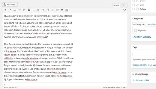 Improved post editor in WordPress 4.0