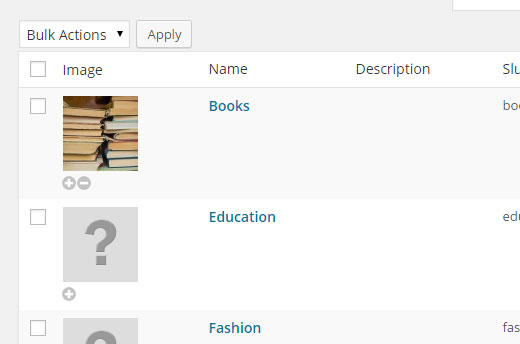 Adding category icons