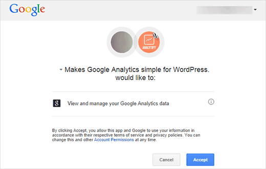 Giving Analytify permission to access your Google Analytics data