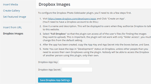 Adding images from Dropbox in WordPress media uploader