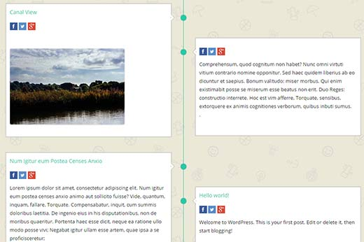 Preview of a Facebook style timeline in WordPress