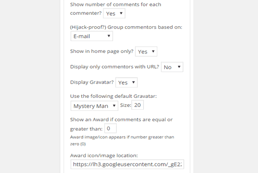 More settings for top commenters widget