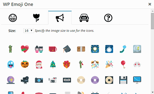 Switch between emoji icon by clicking on category tabs
