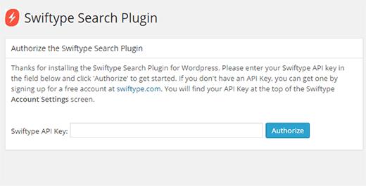 Swiftype Search settings