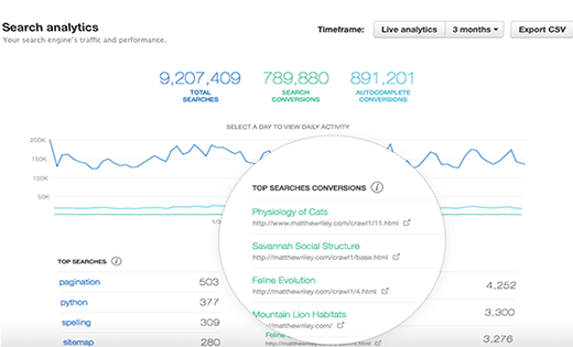 Search analytics displayed on Swiftype dashboard