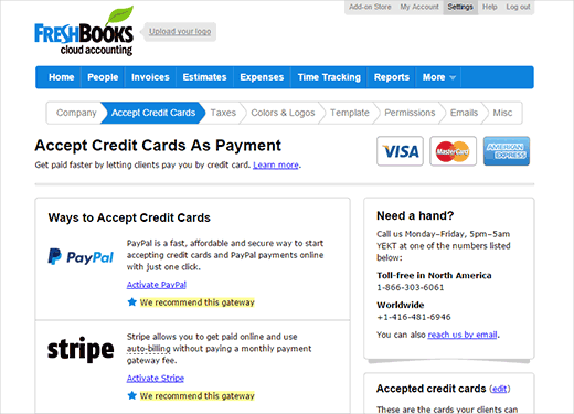 Accept online payments against your invoices using FreshBooks