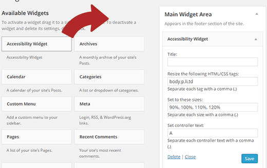 Accessibility Widget Settings