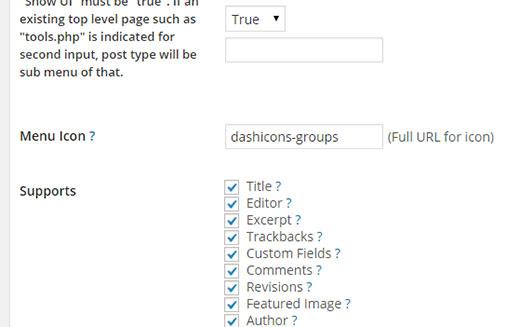 Adding font icon in custom post type UI plugin