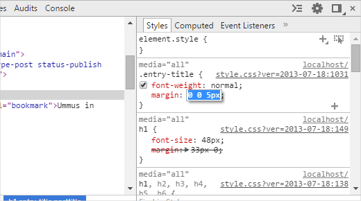Editing CSS in the inspect element tool