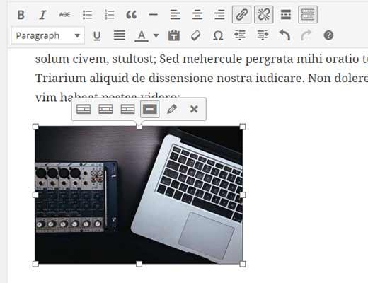 Inline image editing toolbar in WordPress 4.1