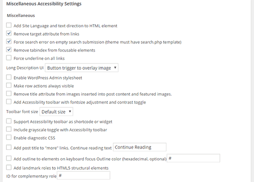 Miscellaneous Accessibility Settings