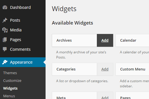 Using widgets in accessibility mode