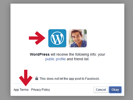 Facebook permissions for using Publicize feature in JetPack