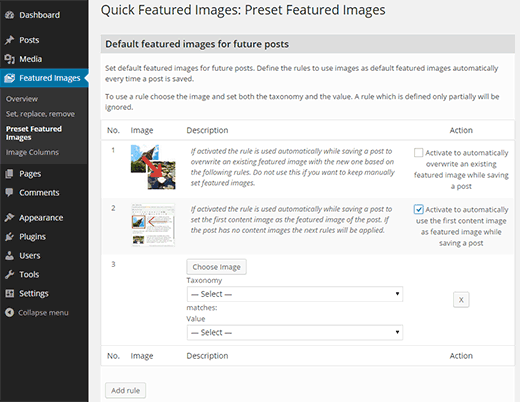 Featured image presets