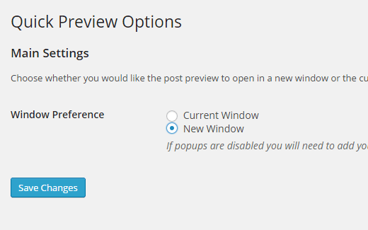 Quick preview settings