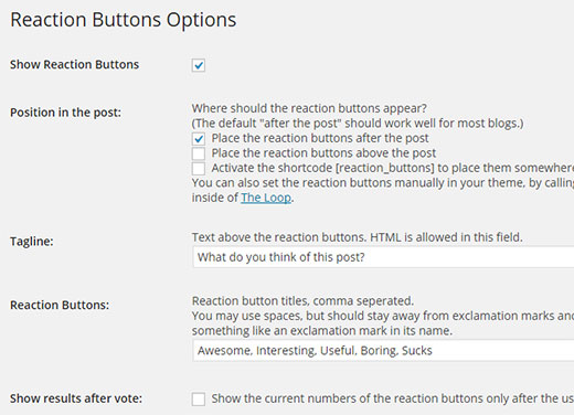 Configuring the reaction buttons