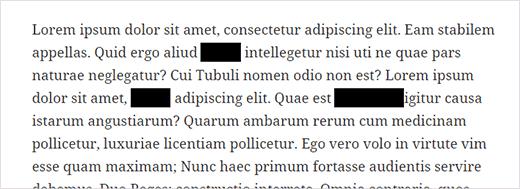 Redacted text blocks in WordPress post