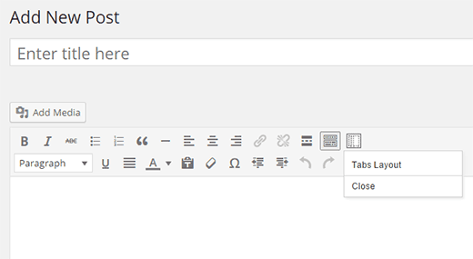 Tabs layout button