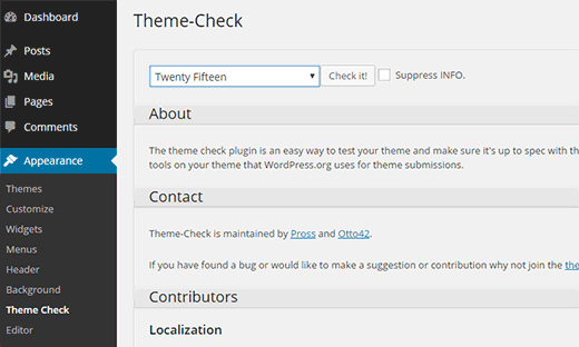 Checking themes against WordPress standards