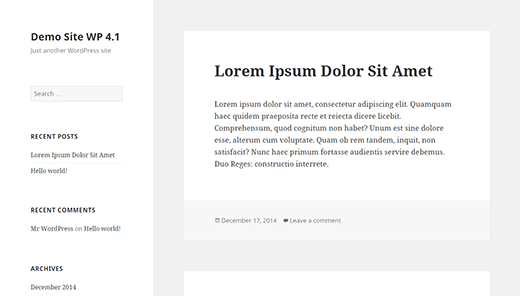 Twenty Fifteen the new default theme in WordPress 4.1