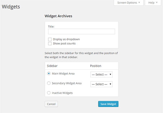 Configuring widget settings in accessibility mode