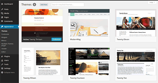 Themes installed on a WordPress site