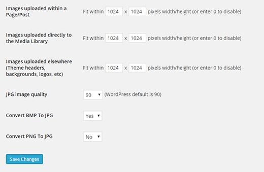 Imsanity plugin settings