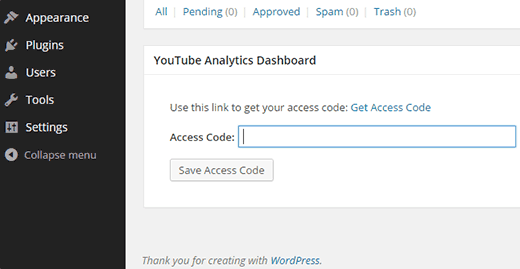 YouTube Analytics Dashboard Widget