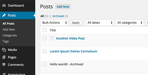 Archived post in WordPress admin area