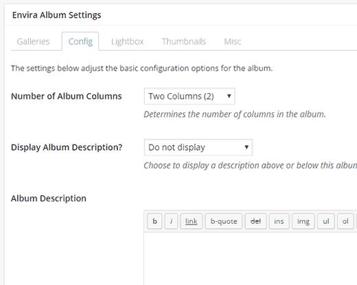 Configuring album appearance