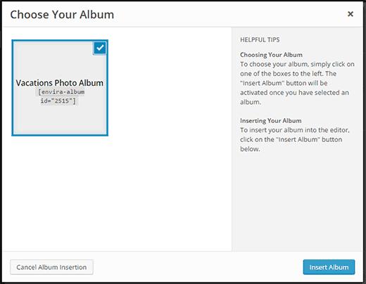 Select photo album