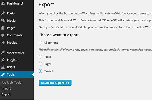 Exporting custom post type in an XML file using WordPress built in export tool