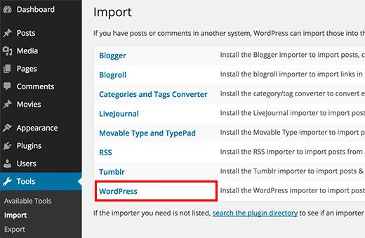 WordPress import tool