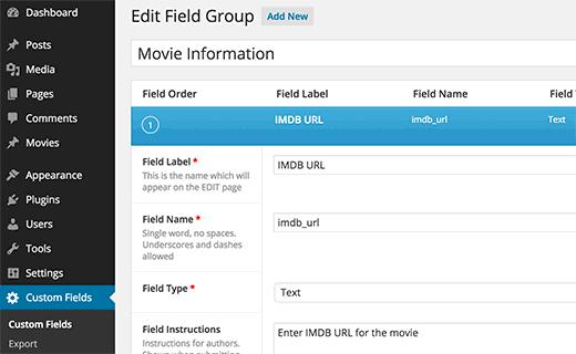 Creating custom fields for post types