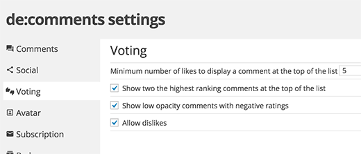 Comment voting settings