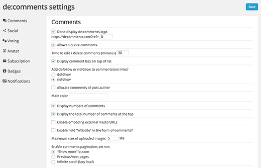 General settings for De:comments