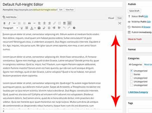Default full height editor in WordPress
