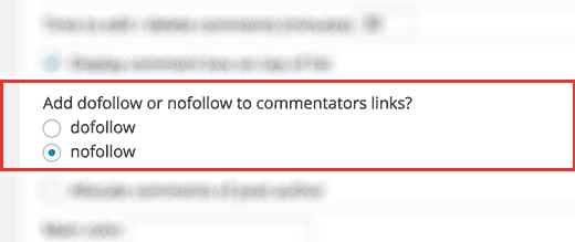 Add nofollow to all commenters links