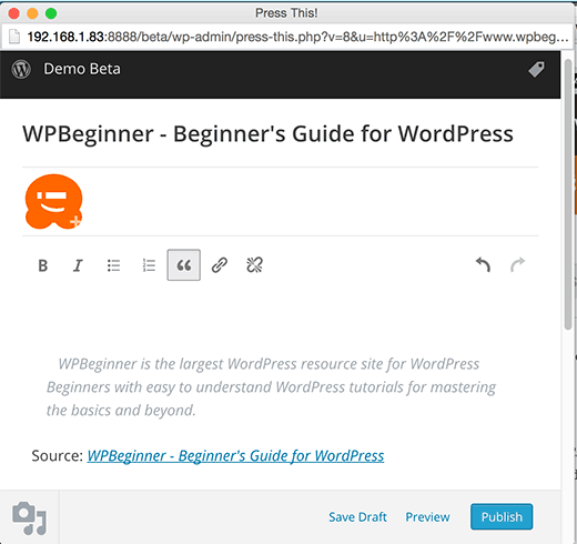 Press This popup in the upcoming WordPress 4.2