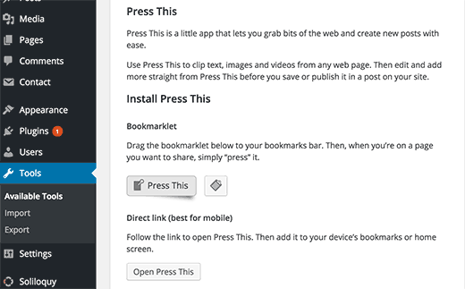 Press This in WordPress 4.2